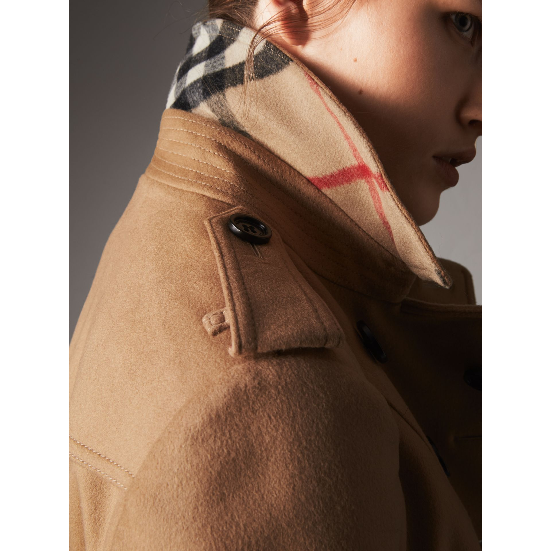 Wool Cashmere Trench Coat with Fur Collar in Camel - Women | Burberry United Kingdom - gallery image 4
