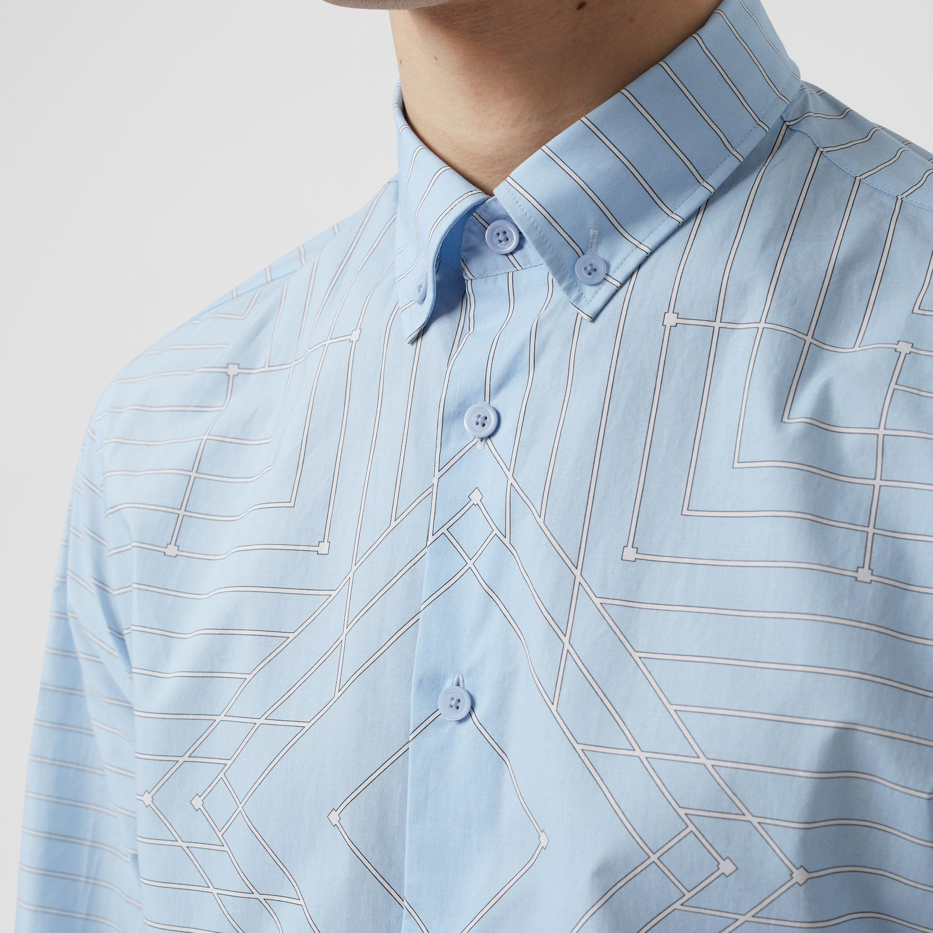 Button-down Collar Geometric Print Cotton Shirt in Pale Blue | Burberry - gallery image 1