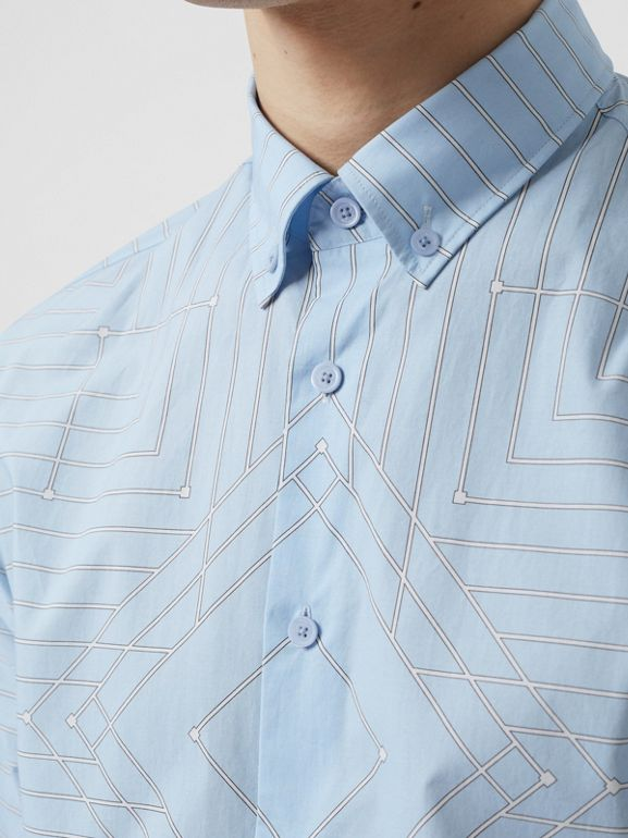 Button-down Collar Geometric Print Cotton Shirt in Pale Blue | Burberry - cell image 1