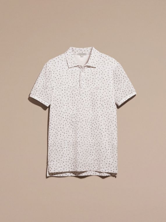 White Painterly Spot Print Cotton Polo Shirt White - cell image 3