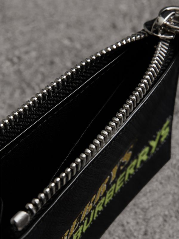 Logo Print London Check Zip Card Case in Charcoal | Burberry United Kingdom - cell image 3