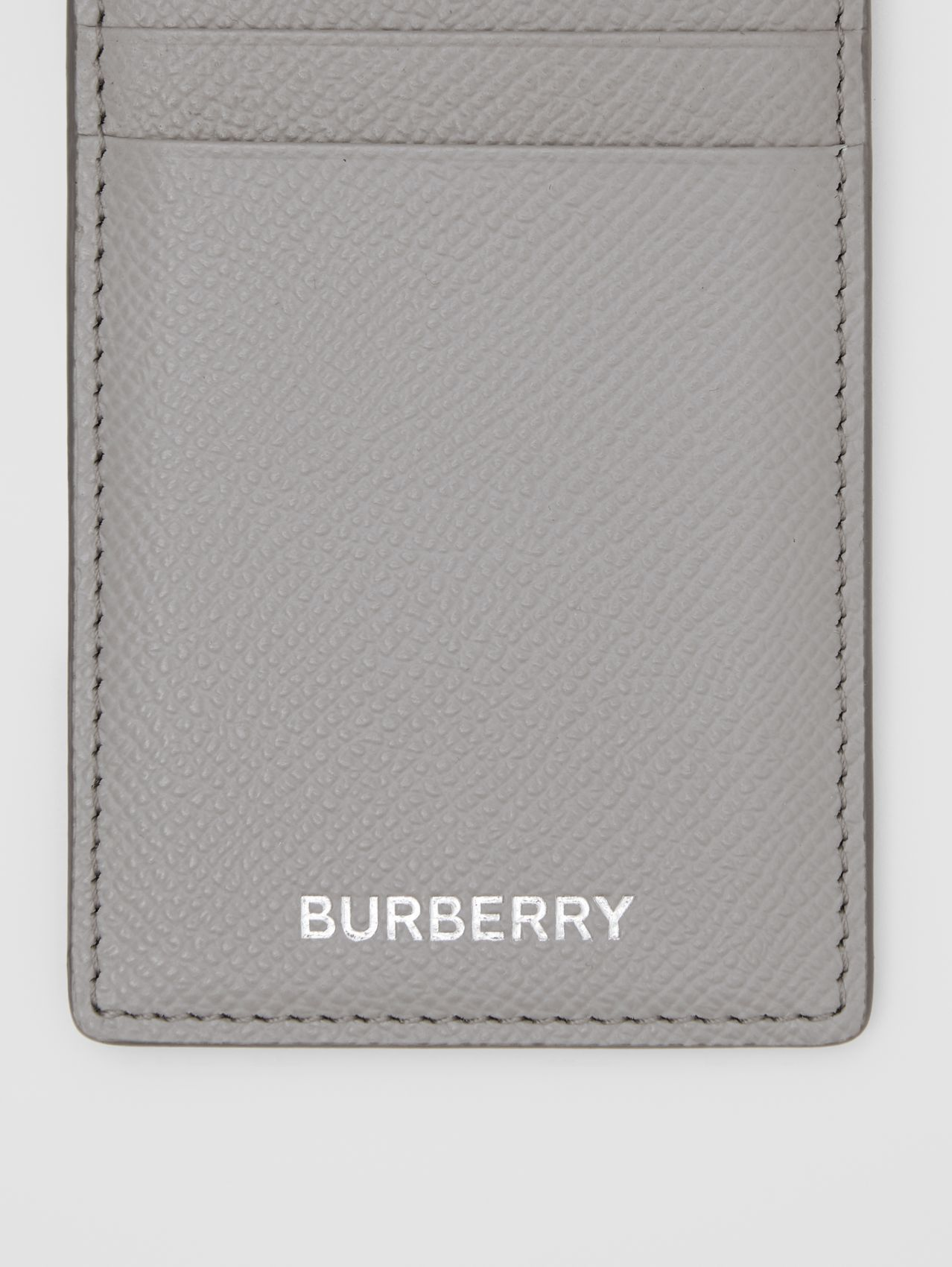 Grainy Leather Card Case in Cloud Grey