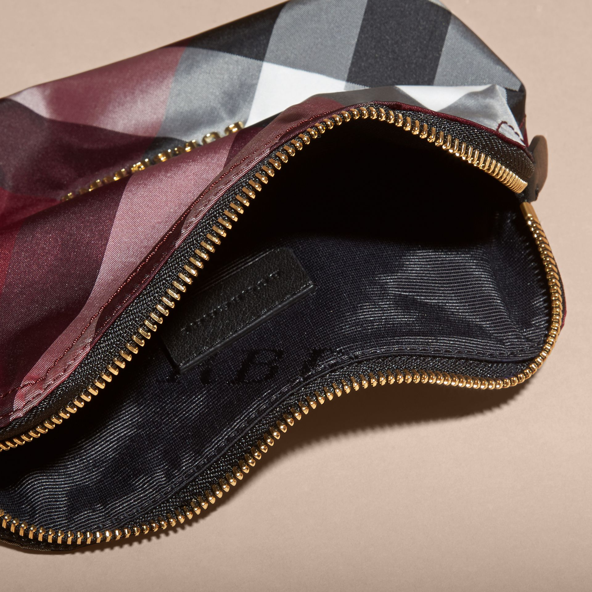 Medium Zip-top Check Technical Pouch in Plum - Women | Burberry - gallery image 5