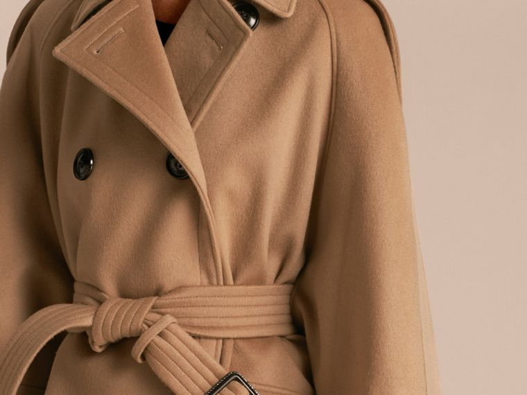 Camel Wool Cashmere Trench Cape Coat - cell image 4