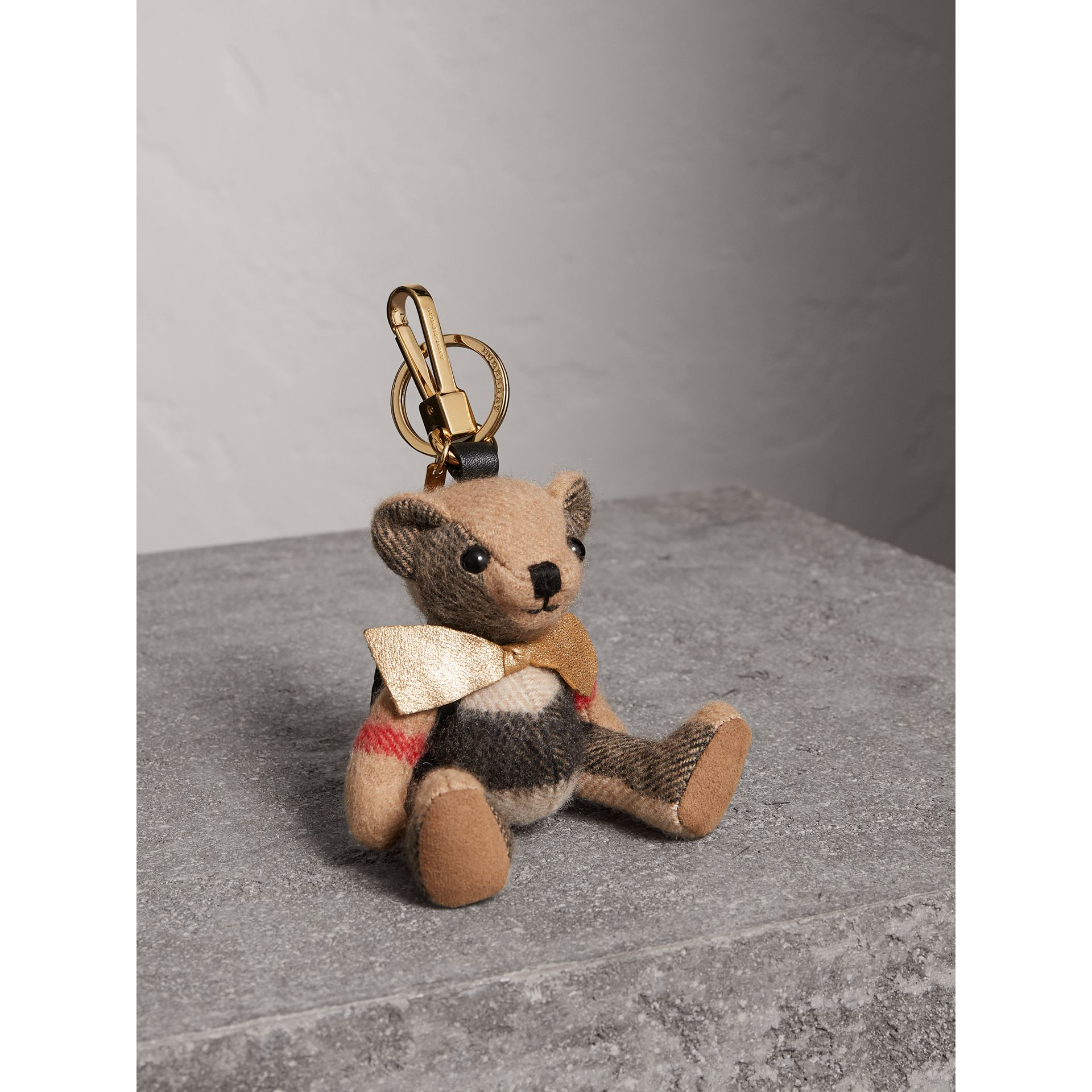 Thomas Bear Charm with Rucksack in Camel | Burberry United Kingdom - gallery image 1