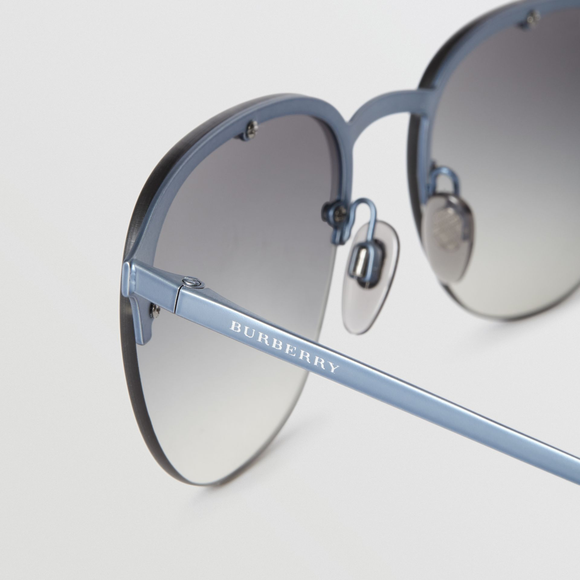Round Frame Sunglasses in Grey - Men | Burberry Australia - gallery image 1