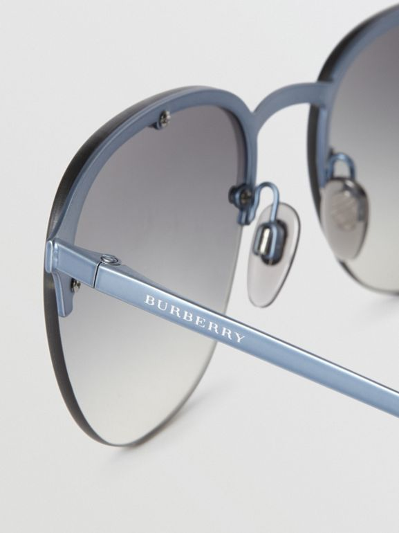 Round Frame Sunglasses in Grey - Men | Burberry Australia - cell image 1