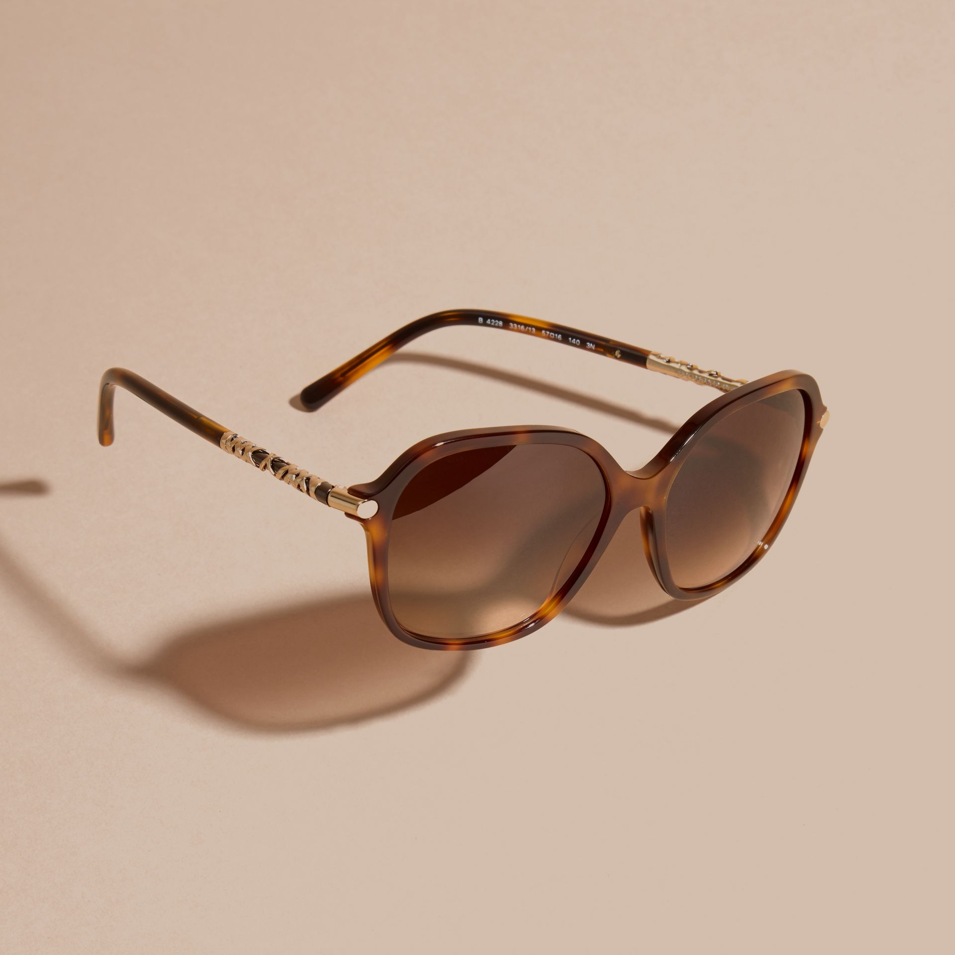 Check Detail Round Frame Sunglasses in Light Russet Brown - gallery image 3