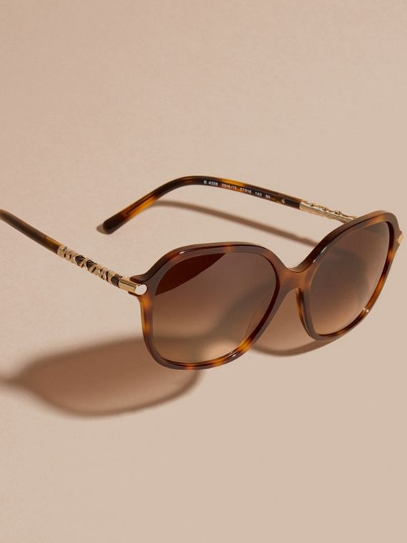 Check Detail Round Frame Sunglasses in Light Russet Brown - cell image 2