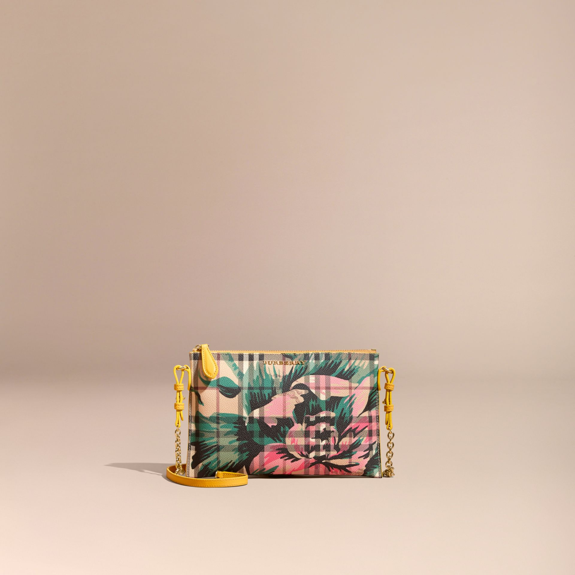 Peony Rose Print Haymarket Check and Leather Clutch Bag in Larch Yellow/emerald Green - gallery image 9