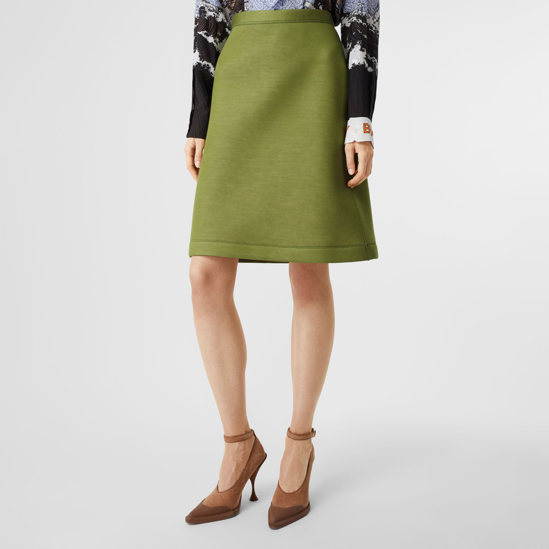 Double-faced Neoprene Skirt in Cedar Green - Women | Burberry - gallery image 5