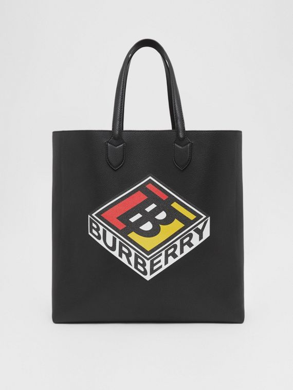 Large Logo Graphic Grainy Leather Tote in Black