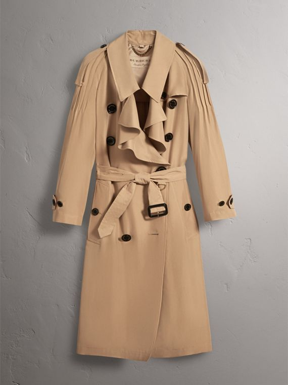 Ruffle Detail Silk Trench Coat in Honey - Women | Burberry - cell image 3
