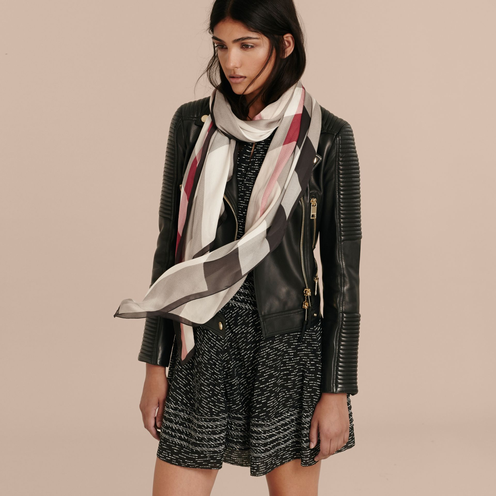 Lightweight Check Silk Scarf in Stone - Women | Burberry Singapore - gallery image 3