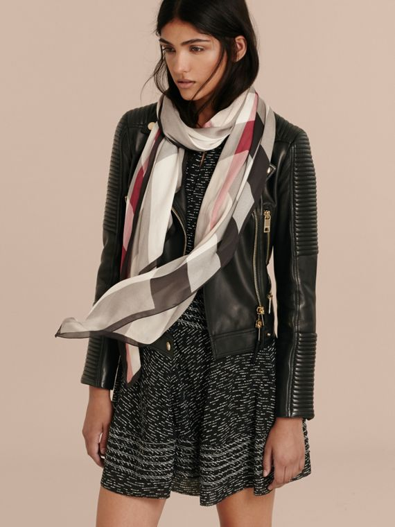 Lightweight Check Silk Scarf in Stone - Women | Burberry Singapore - cell image 2