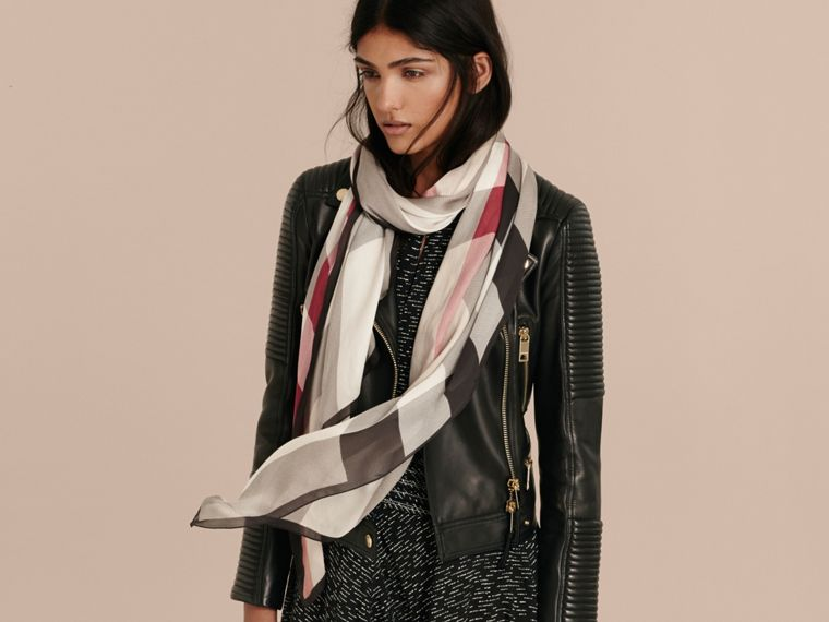 Lightweight Check Silk Scarf in Stone - Women | Burberry - cell image 2