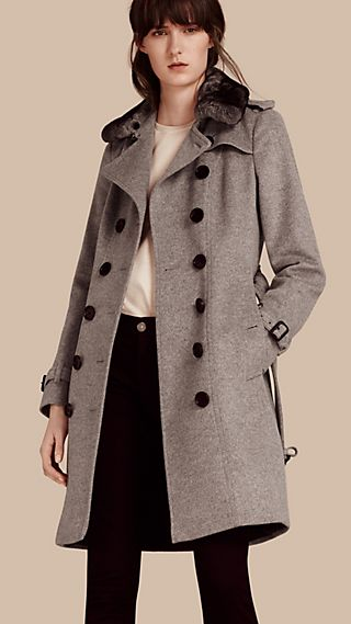 Wool Cashmere Trench Coat with Fur Collar