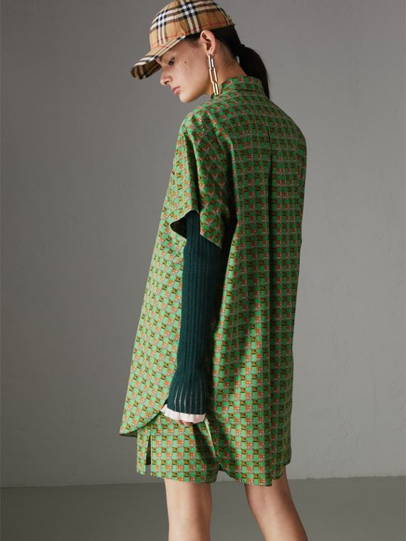 Equestrian Check Print Cotton Longline Shirt in Dark Forest Green - Women | Burberry - cell image 2
