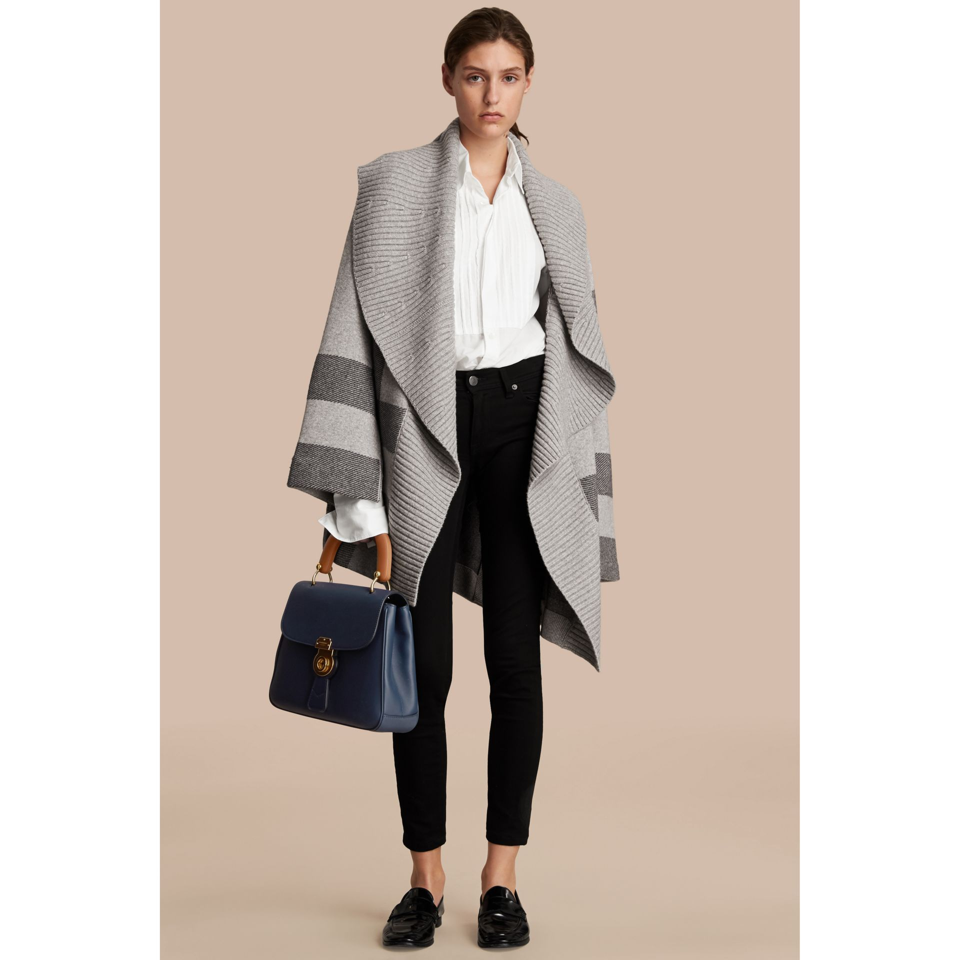 Check Wool Cashmere Blend Cardigan Coat in Pale Grey Melange - Women | Burberry - gallery image 1