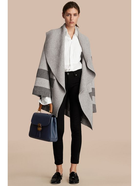 Check Wool Cashmere Blend Cardigan Coat in Pale Grey Melange