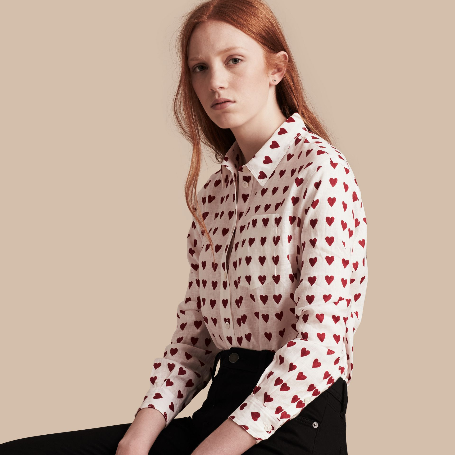 Heart Print Linen Shirt in Parade Red - gallery image 1