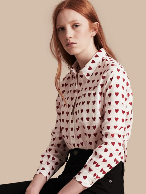 Heart Print Linen Shirt Parade Red