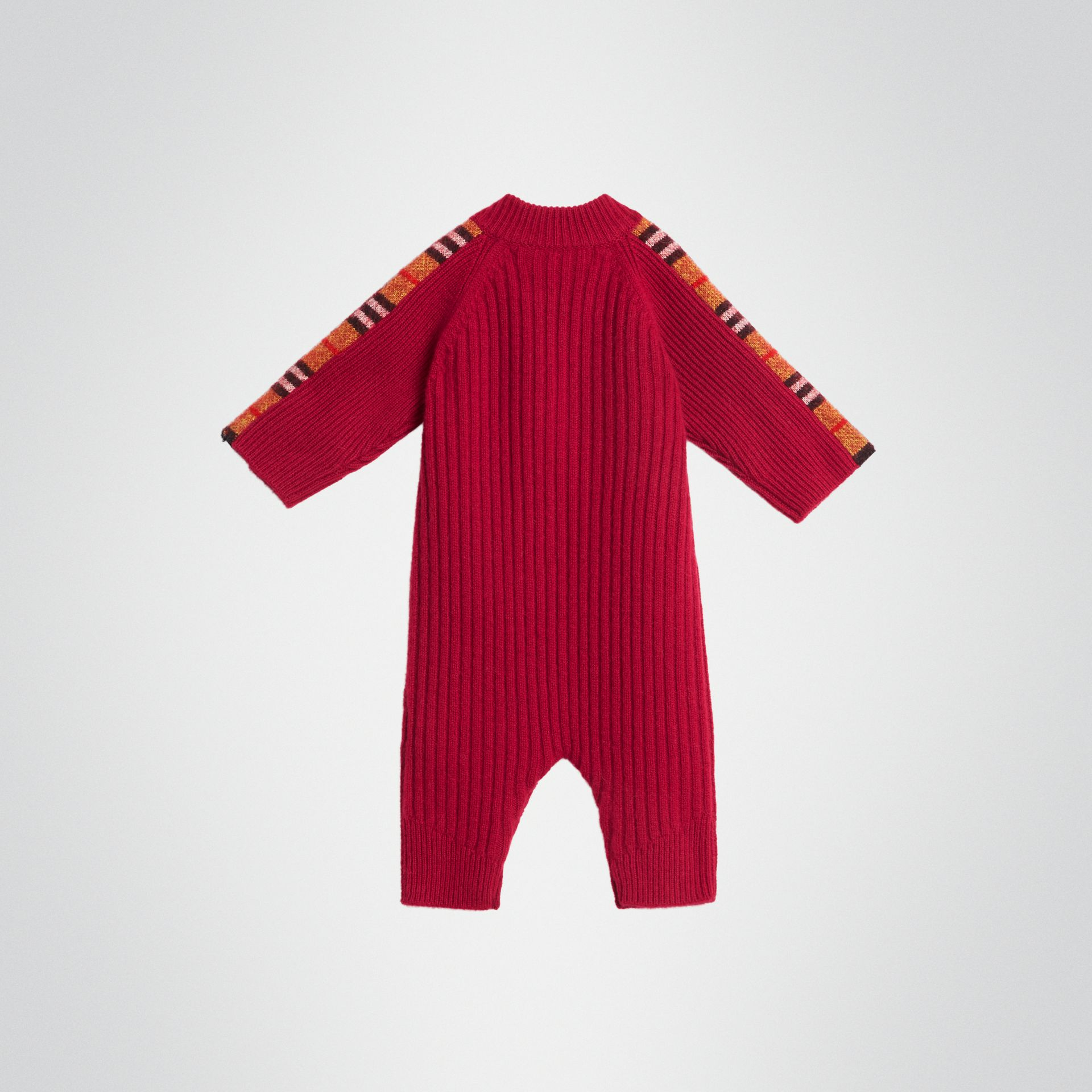 Check Detail Cashmere Jumpsuit in Burgundy Red - Children | Burberry - gallery image 3
