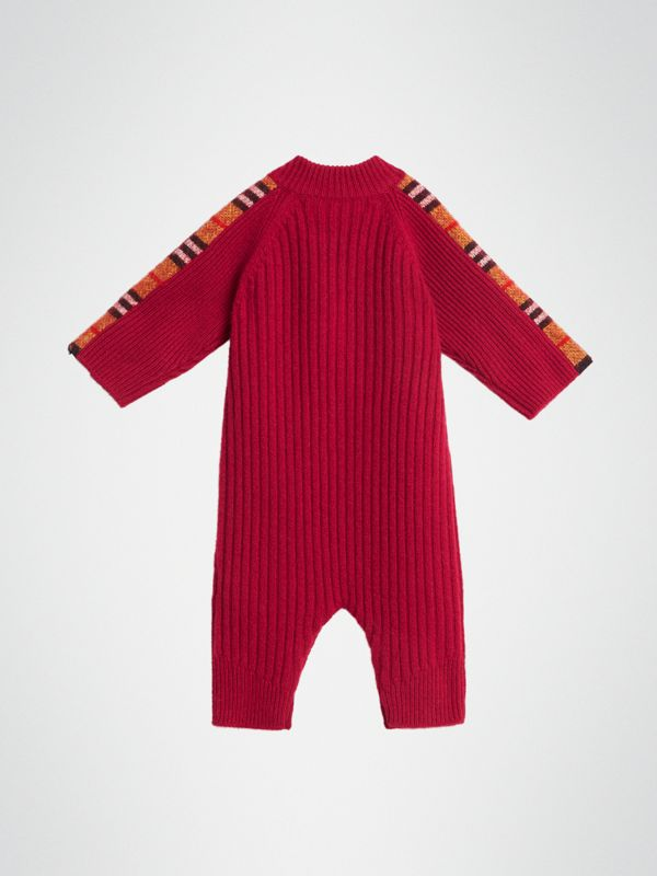 Check Detail Cashmere Jumpsuit in Burgundy Red - Children | Burberry United States - cell image 3