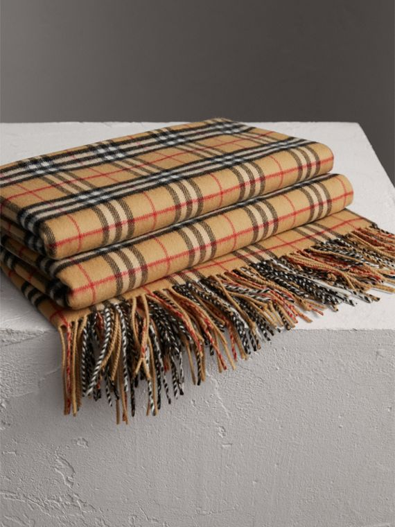 Vintage Check Cashmere Blanket in Antique Yellow
