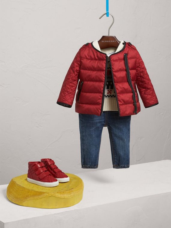 Down-filled Quilted Jacket in Crimson Red