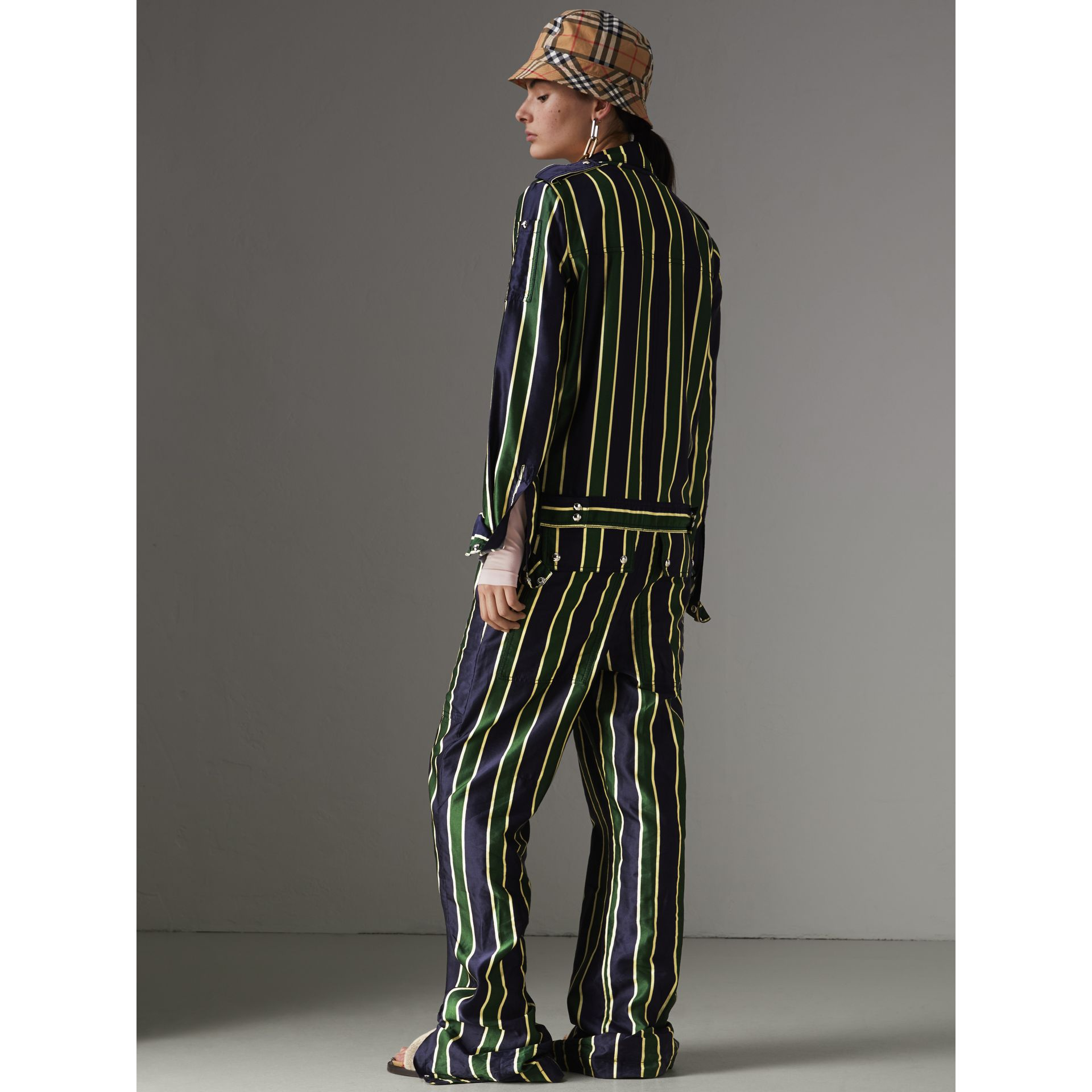Striped Cotton Silk Jumpsuit in Navy Stripe - Women | Burberry - gallery image 2