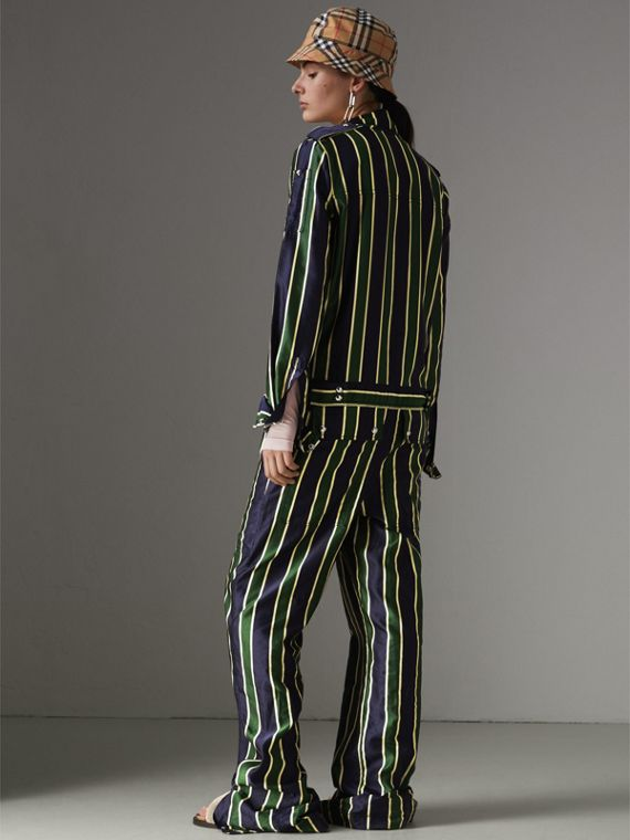 Striped Cotton Silk Jumpsuit in Navy Stripe - Women | Burberry Canada - cell image 2