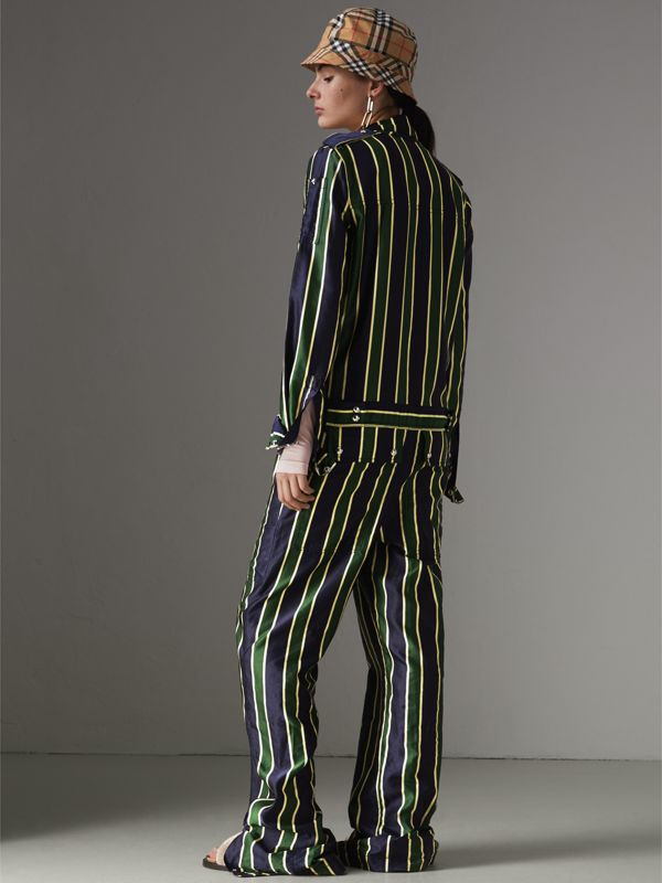 Striped Cotton Silk Jumpsuit in Navy Stripe - Women | Burberry Australia - cell image 2