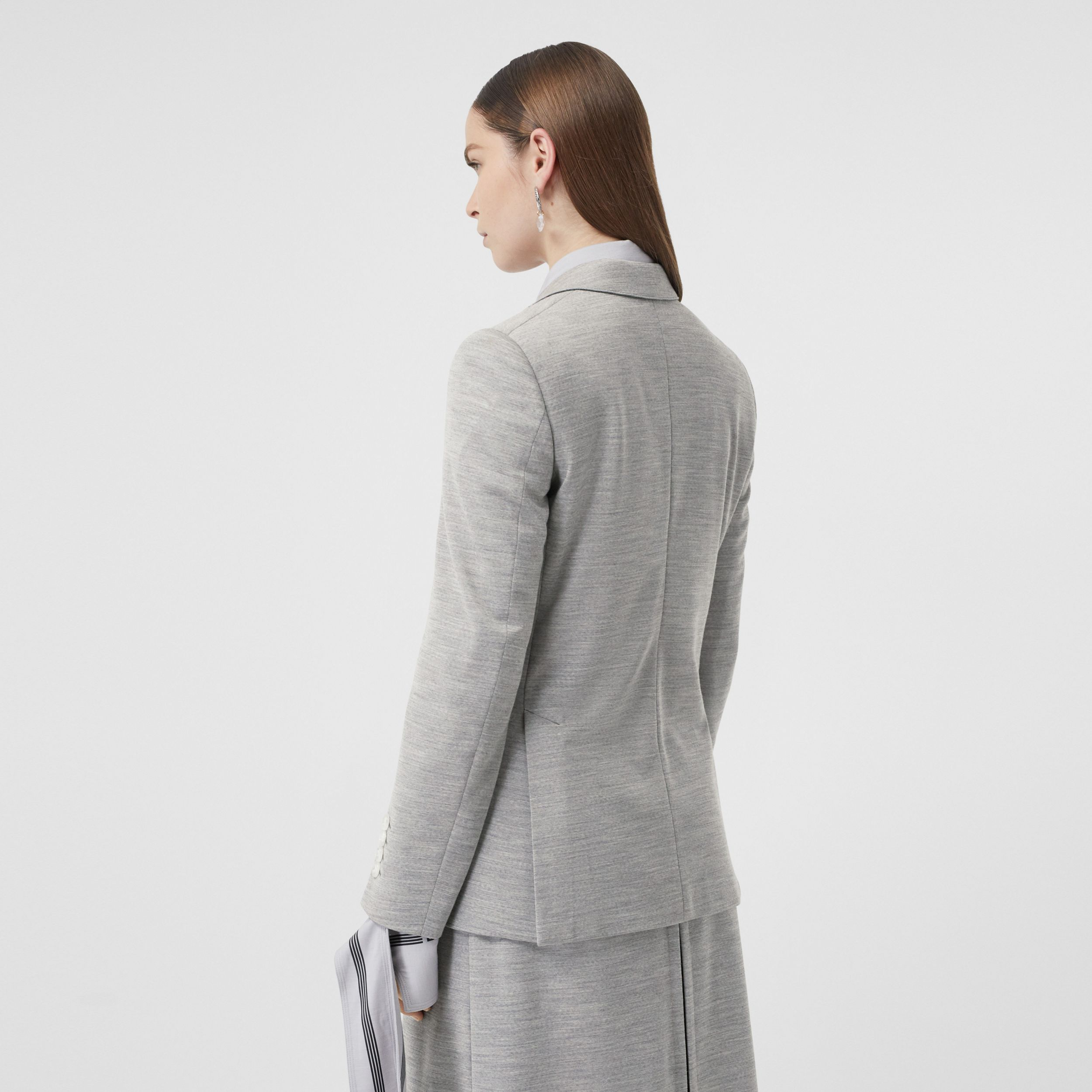 Technical Wool Jersey Blazer in Grey Taupe Melange - Women | Burberry - 3
