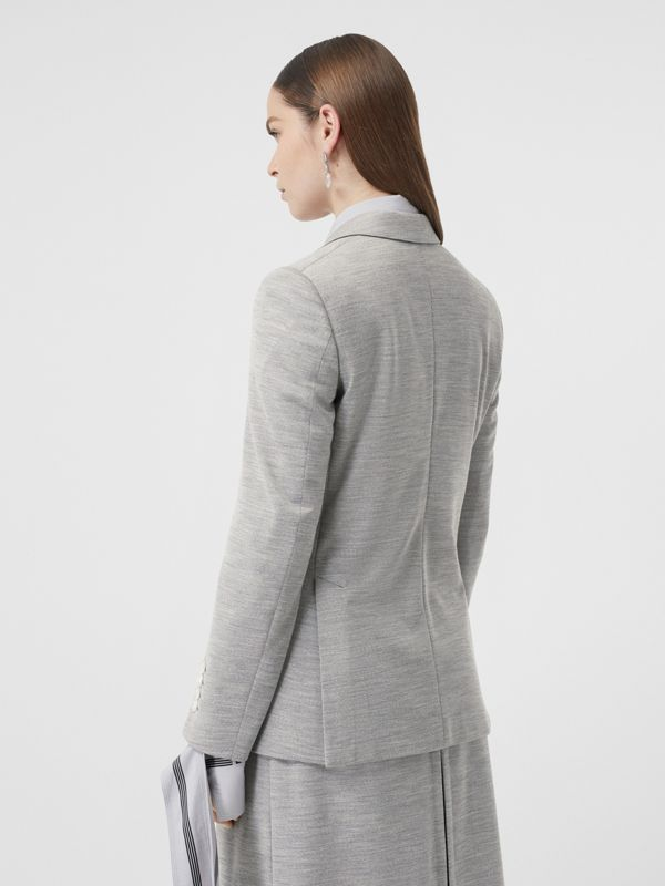 Technical Wool Jersey Blazer in Grey Taupe Melange - Women | Burberry - cell image 2