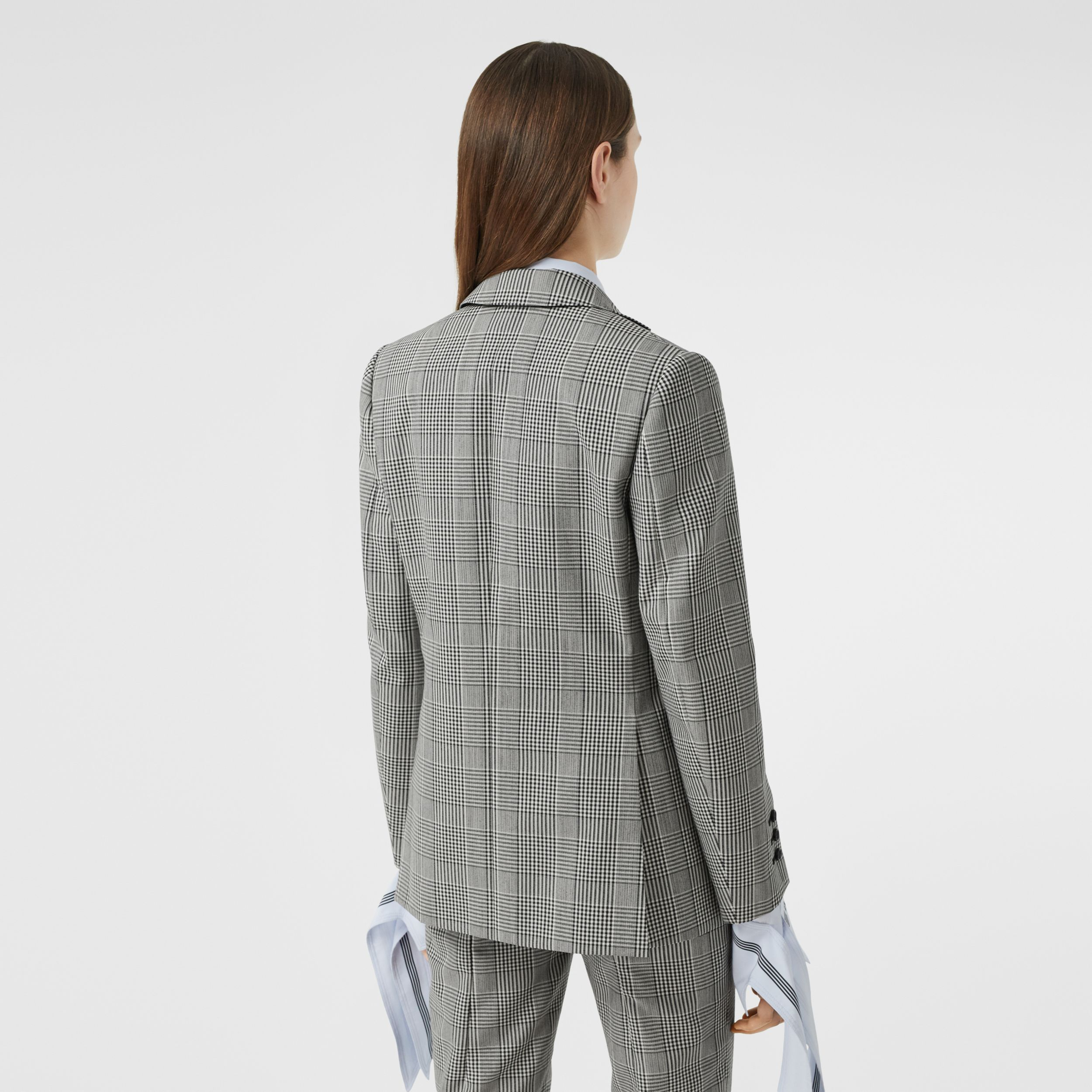 Waistcoat Panel Check Technical Wool Tailored Jacket in Black - Women | Burberry - 3