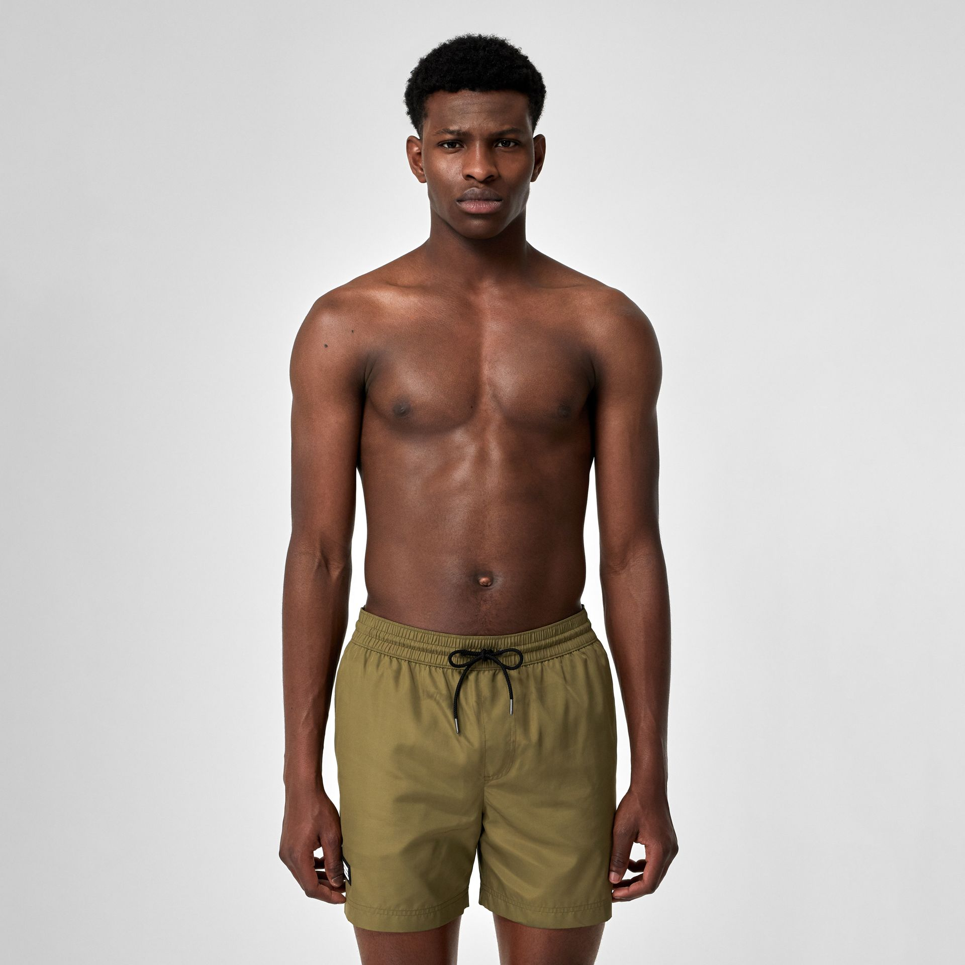 Logo Detail Drawcord Swim Shorts in Utility Green - Men | Burberry Canada - gallery image 0