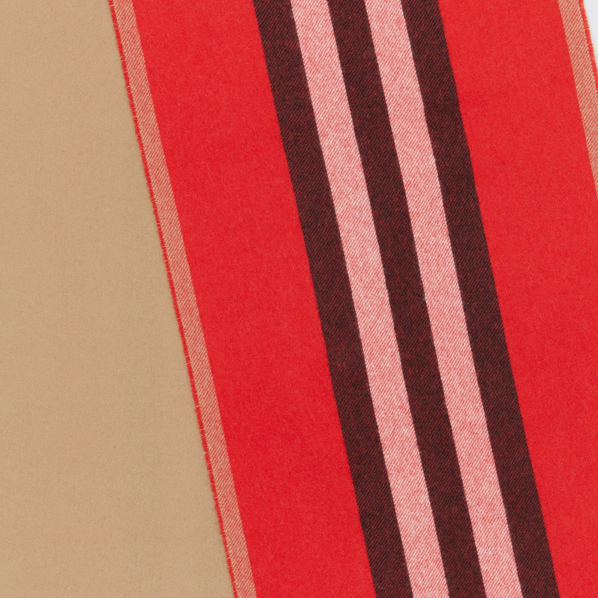Reversible Icon Stripe Cashmere Scarf in Bright Red | Burberry - gallery image 1