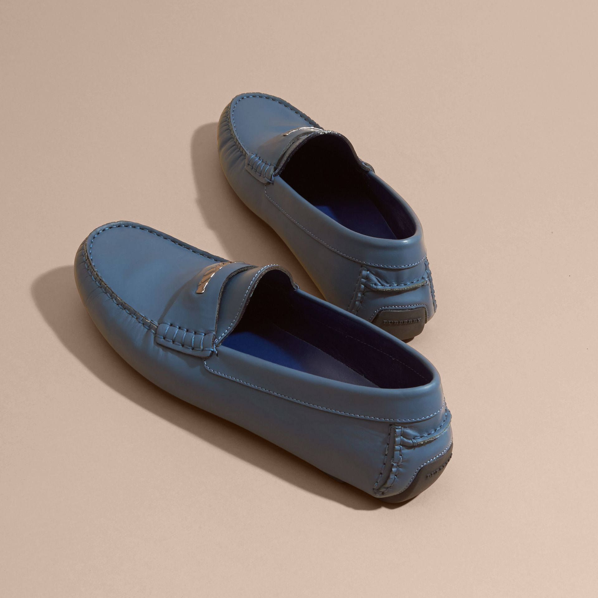 Leather Loafers with Engraved Check Detail Dark Mineral Blue - gallery image 5