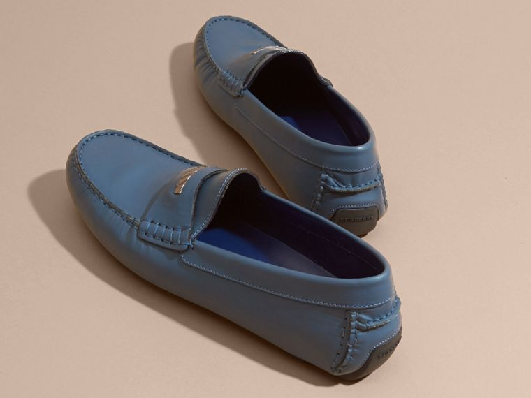 Leather Loafers with Engraved Check Detail Dark Mineral Blue - cell image 4