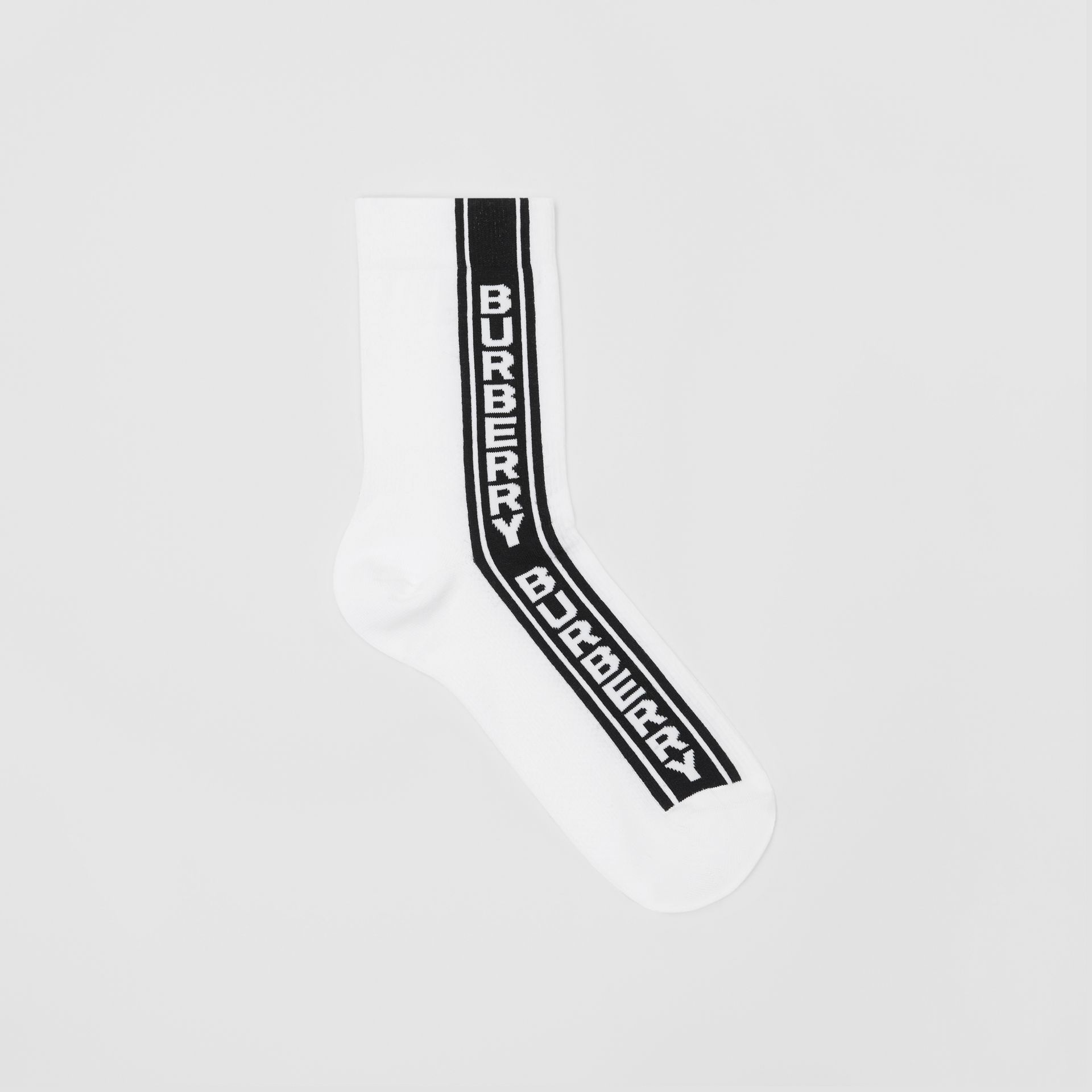 Logo Stripe Intarsia Cotton Blend Socks in White | Burberry Hong Kong - gallery image 0