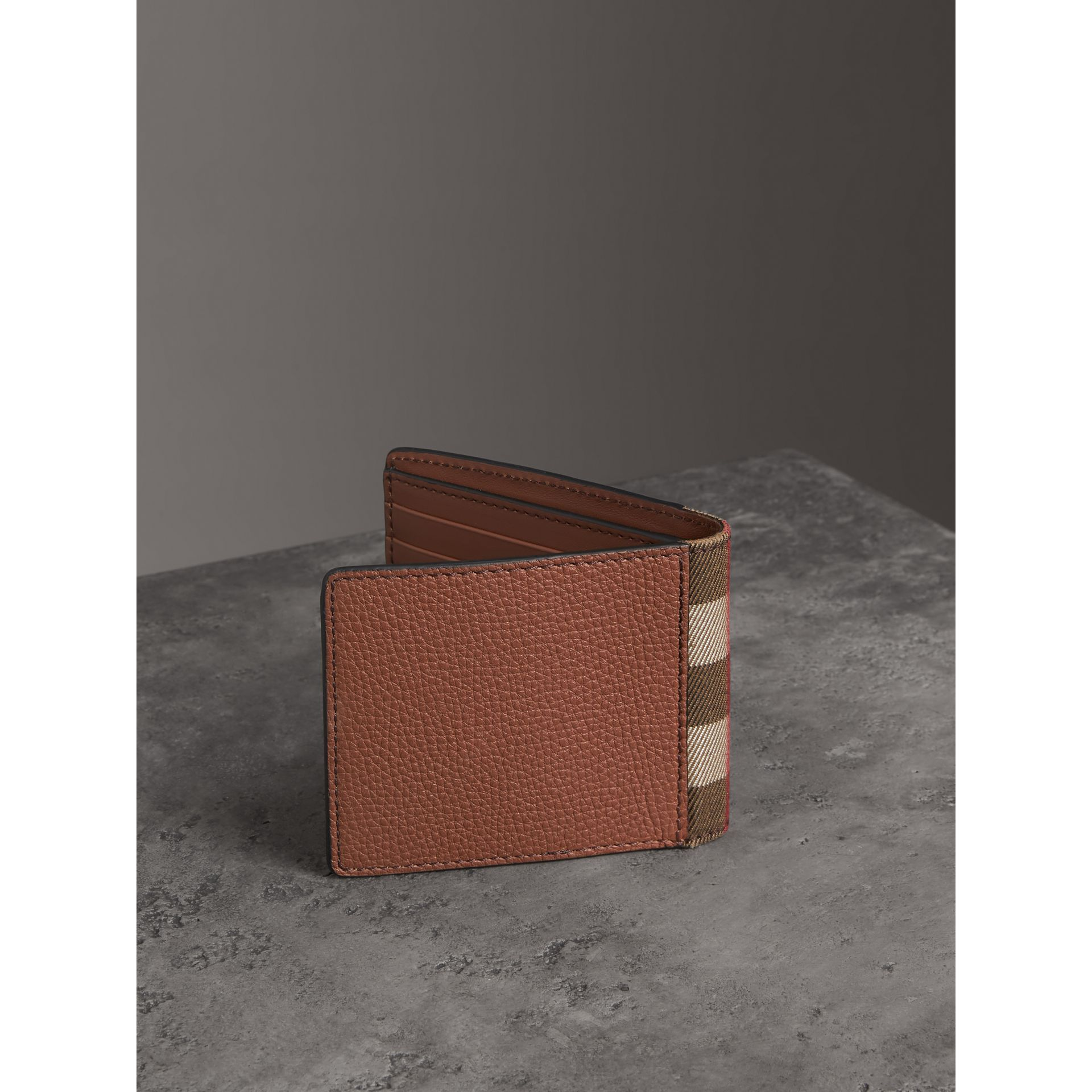 Grainy Leather and House Check Bifold Wallet in Chestnut Brown - Men | Burberry United States - gallery image 2