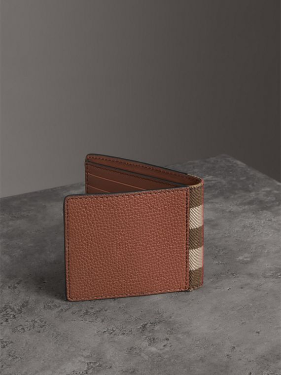 Grainy Leather and House Check Bifold Wallet in Chestnut Brown - Men | Burberry United States - cell image 2