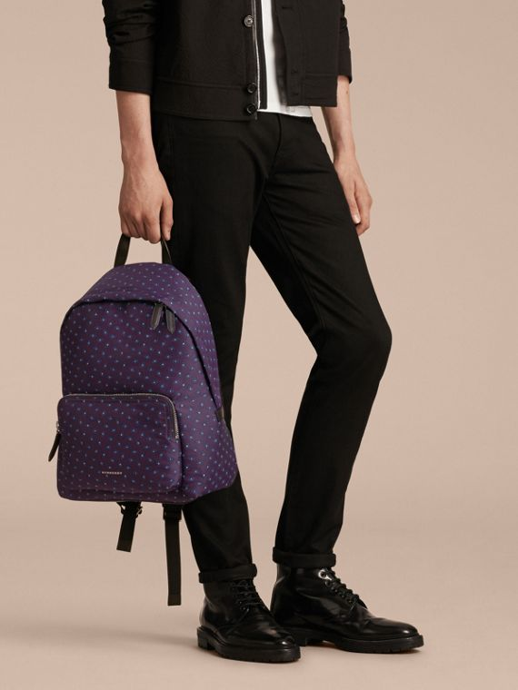 Deep aubergine Leather Trim Abstract Jacquard Backpack Deep Aubergine - cell image 2
