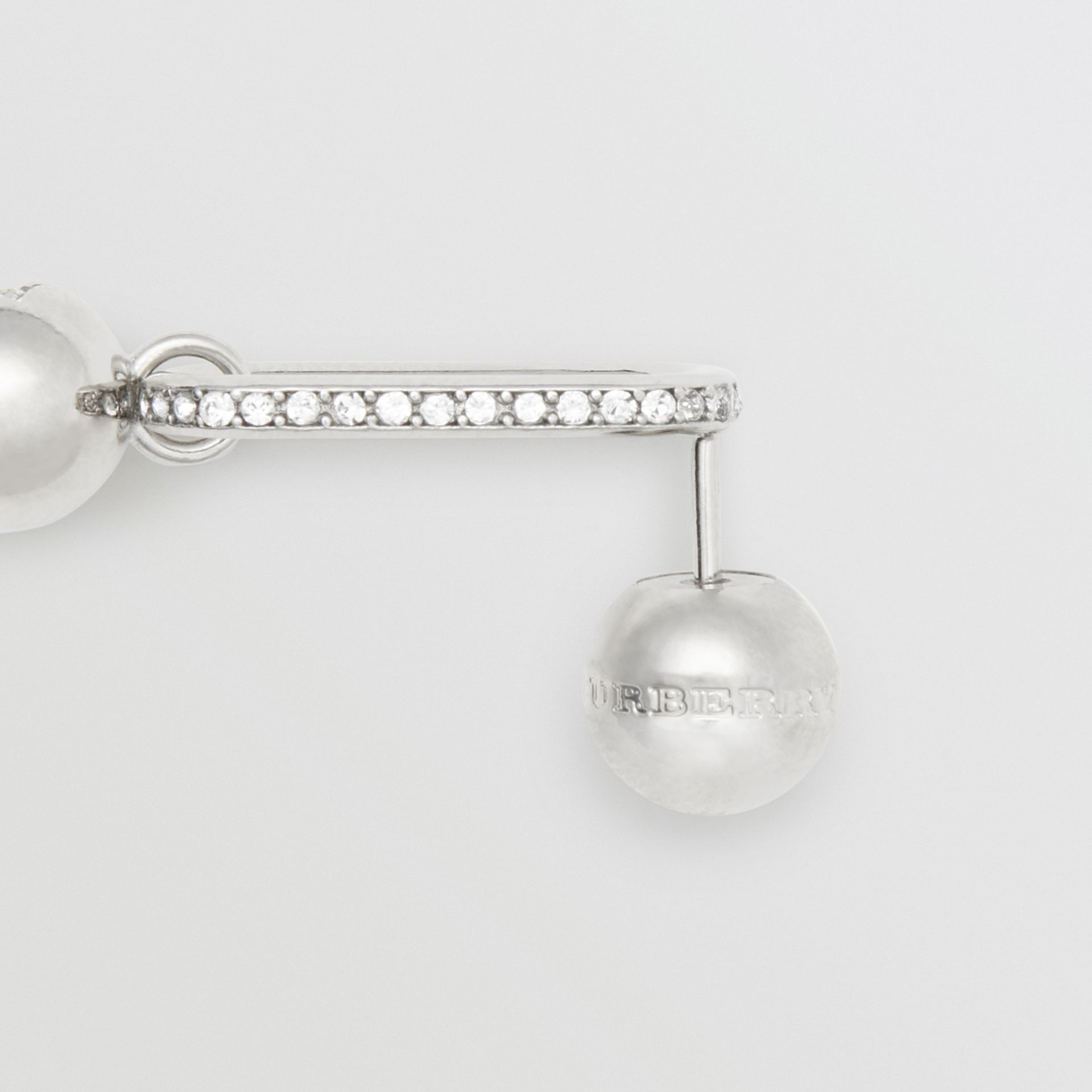 Crystal Charm Palladium-plated Drop Earrings in Palladio/crystal - Women | Burberry - gallery image 1