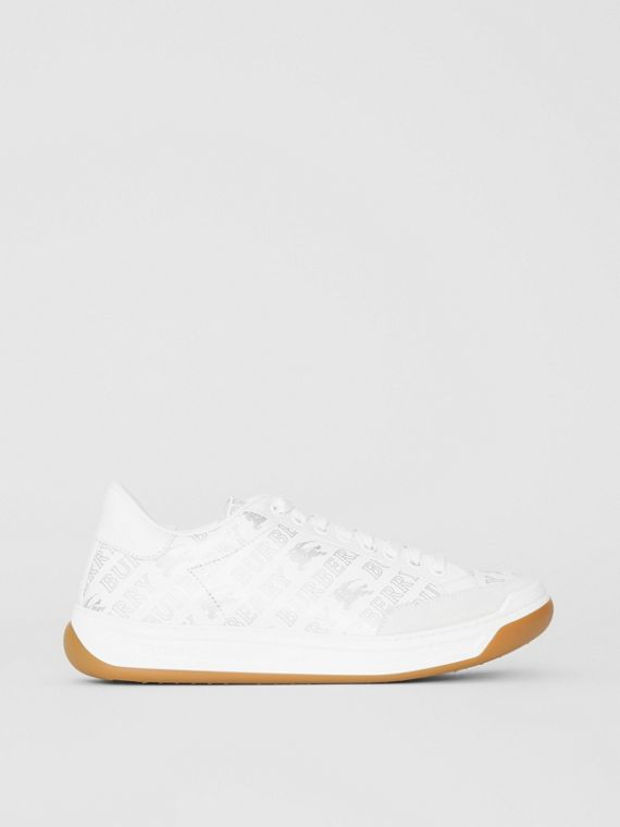 Metallic Logo Print Leather Sneakers in Optic White/silver