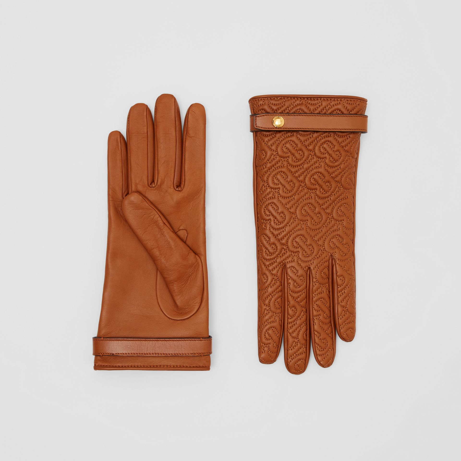 Cashmere-lined Quilted Monogram Lambskin Gloves in Brown | Burberry - gallery image 0