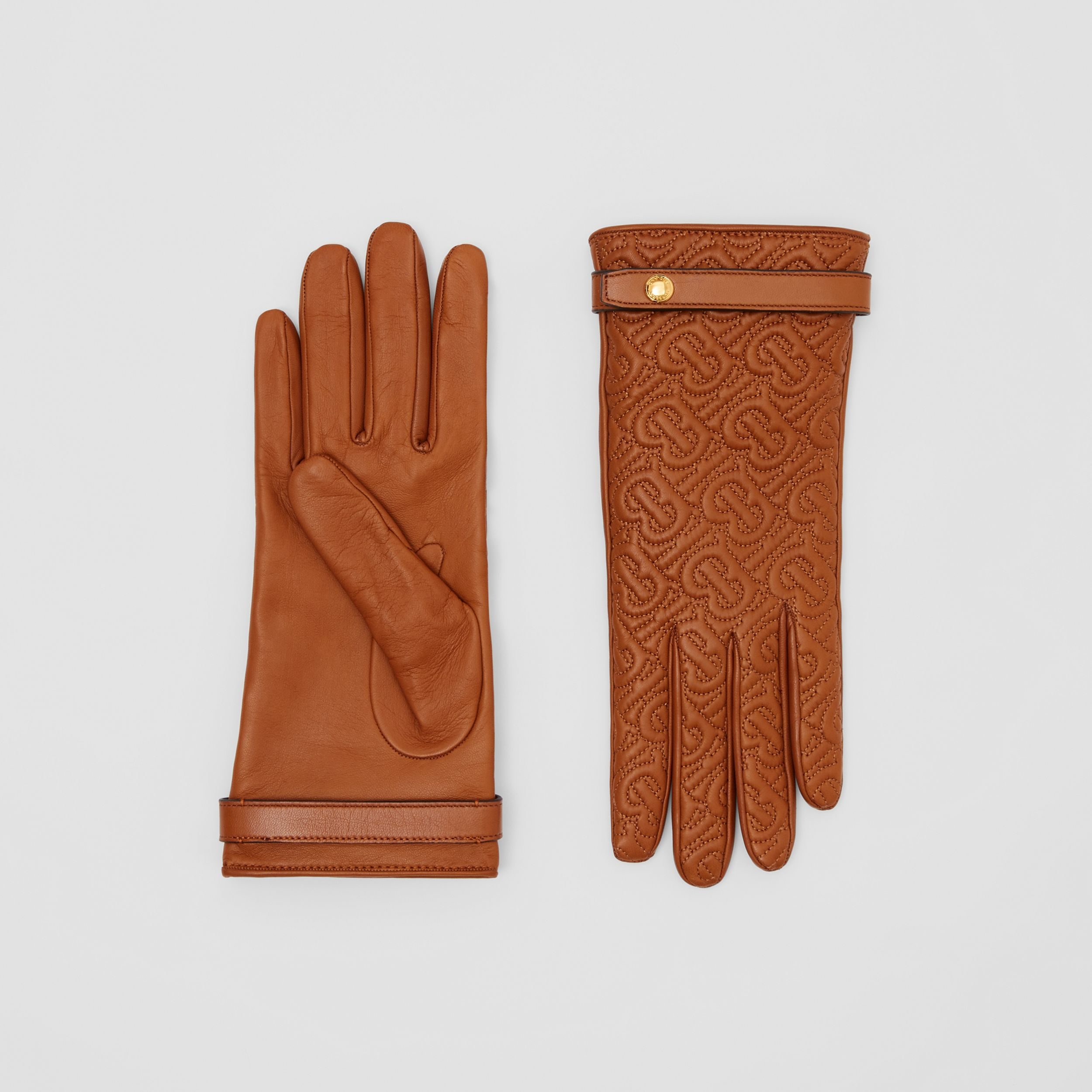 Cashmere-lined Quilted Monogram Lambskin Gloves in Brown | Burberry - 1
