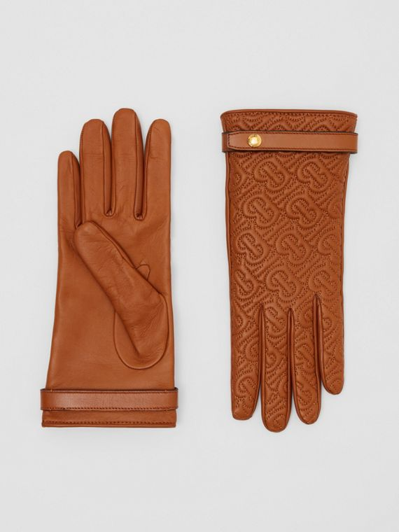 Cashmere-lined Quilted Monogram Lambskin Gloves in Brown
