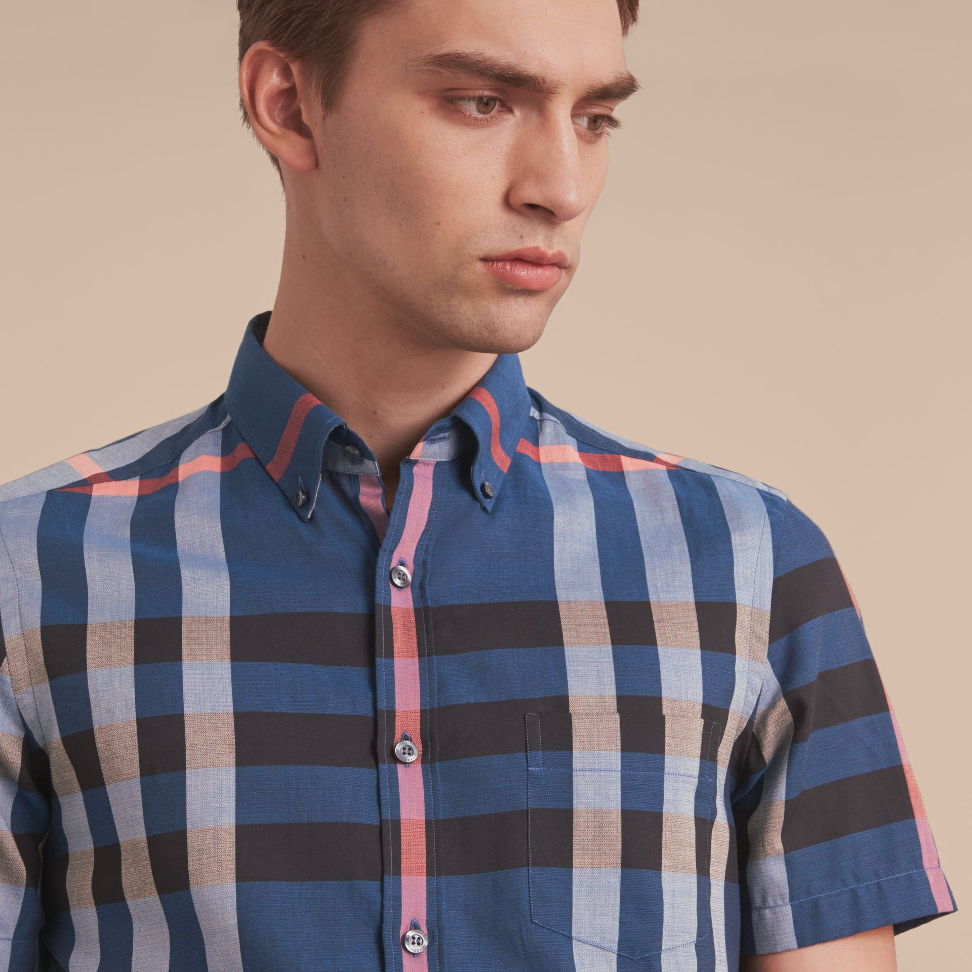 Button-down Collar Short-sleeve Check Cotton Shirt in Ink Blue - gallery image 5